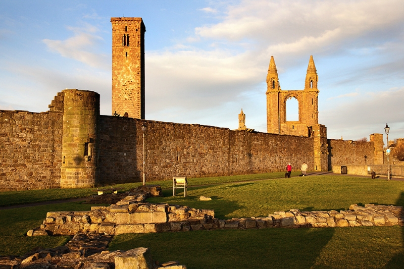 Ruins of St Mary on the Rock and the Cathedral at Sunrise St And