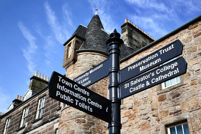 Tourist Signpost and Admirable James Crichton House on North Str