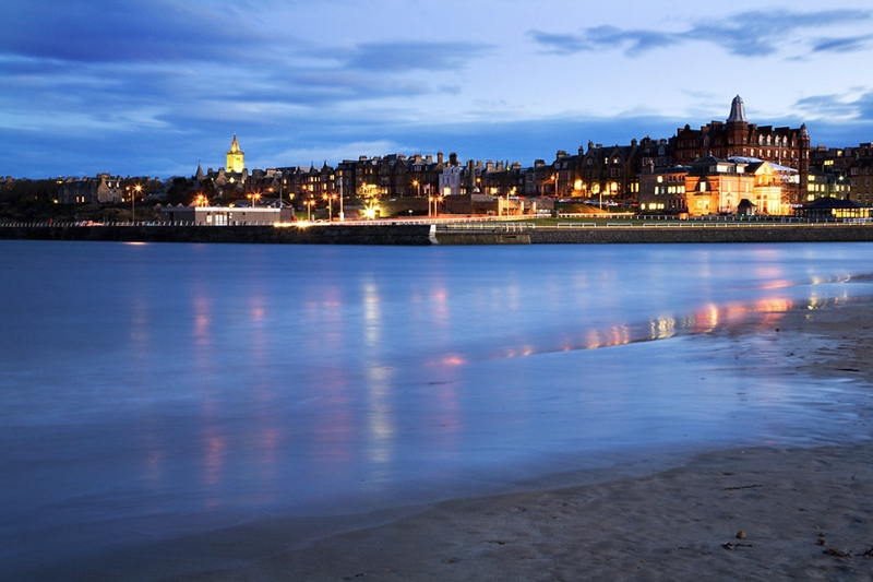 St Andrews from the West Sands at Dusk Fife Scotland