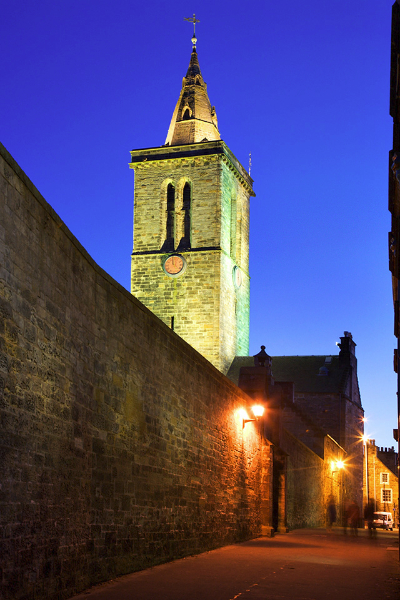 St Salvators College Chapel Tower from Butts Wynd at Dusk St And