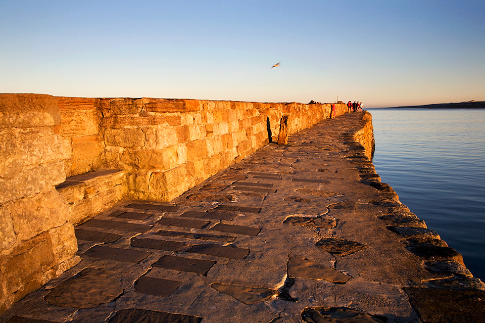 Walking on the Pier at Sunset, St Andrews Harbour