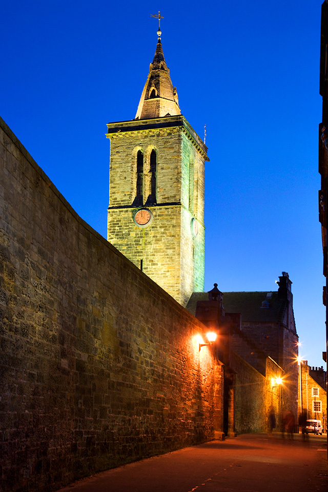 St Salvators College Chapel Tower from Butts Wynd at Dusk, St Andrews